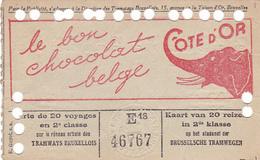 25957 - BELGIQUE Bruxelles Titre 20 Voyages Tramways -publicité Chocolat Belge Cote D'Or - 1936 - Tramwegen