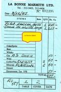 Mauritius - Maurice - Port-Louis - La Bonne Marmite - Note Restaurant De1995 - - Autres