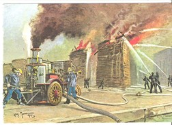 Pompiers éteignant à La Pompe à Charbon Un Feu De Planches Ou De Palettes Illustration De Willy Morau - Autres