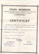 Certificat Original  Cours Menagers  Porrentruy 1931 ( Bon Etat ) - Vieux Papiers