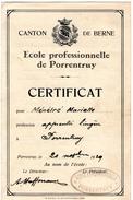 Certificat Original  Ecole Professionnelle De   Porrentruy 1929 ( Bon Etat ) - Vieux Papiers