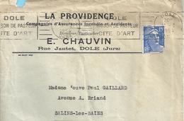 """ENV + LETTRE + CONTRAT D'ASSURANCE DE """" LA PROVIDENCE """"E. CHAUVIN RUE JANTET A DOLE .lettre De 1954.contrat Initial 1921 - Banque & Assurance"""