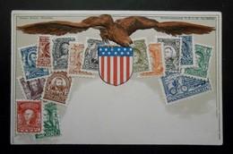 Etats-Unis- CPA Précurseur Avant 1906, Allégorie Timbres TP, Philatélie, Pays : Etats-Unis - Sellos (representaciones)