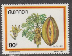 1987 Rwanda Fruits 80f PAPAYA  - Much Cheaper Than Buying Complete Set!!! - Obst & Früchte