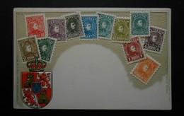 Espagne - CPA Précurseur Avant 1906, Allégorie Timbres TP, Philatélie, Pays : Espagne - Sellos (representaciones)