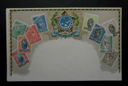 Brésil - CPA Précurseur Avant 1906, Allégorie Timbres TP, Philatélie, Pays : Brésil - Sellos (representaciones)