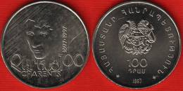 "Armenia 100 Dram 1997 Km#76 ""Charents"" UNC - Armenia"