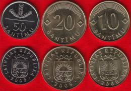 Latvia Set Of 3 Coins: 10-50 Santimu 2008-09 UNC - Latvia