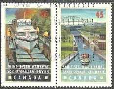 Sc. # 1733 & 34 Canals, Trent-Severn Waterway, Sault St. Marie Ontario Se Tenent Pair Used 1998 K930 - 1952-.... Règne D'Elizabeth II