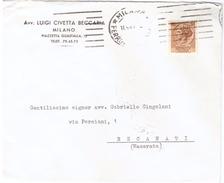 STORIA POSTALE - ITALIA - ANNO 1957 - AVVOCATO LUIGI CIVETTA BECCARIA - MILANO - PER G. CINGOLANI - RECANATI - - 1946-60: Marcophilia