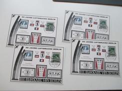 Berlin Sonderpostkarte 20 Jahre Luftbrücke Berlin 1968. Sonderblock. Kleine Auflage. 4 Stück!! - Berlin (West)
