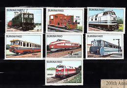 Train, Eisenbahn, Locomotive, Railway: Burkina Fasso 1985 Mi Nr  1043 - 1049 Compleet, Postfris - Treinen