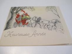 Carte De Vœux Ancienne Usagée/Canada/Diligence Dans La Neige/Noël Et Jour De L'an/ Marie-Térése Malo/Vers 1935-55 - Autres Collections