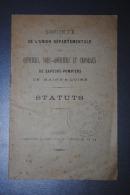 Ancien Livret  Des Statuts Union Départementale Des Sapeurs-Pompiers Du Maine Et Loire Angers 1890 - Pompiers