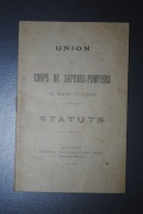 Ancien Livret  Des Statuts Union Départementale Des Sapeurs-Pompiers Du Maine Et Loire Angers 1904 - Pompieri