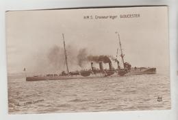 CPA TRANSPORT BATEAU DE GUERRE ROYAL NAVY - H.M.S CROISEUR LEGER GLOUCESTER 1909 - Warships