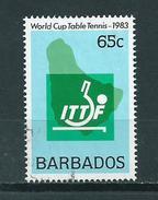1983 Barbados 65 Cent Table Tennis Used/gebruikt/oblitere