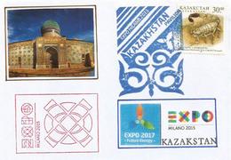 KAZAKHSTAN UNIVERSAL EXPO MILANO 2015, Lettre Du Pavillon Kazak ((Mausoleum Of Khoja Ahmed Yasawi) Avec Timbre Kazak - 2015 – Milan (Italy)