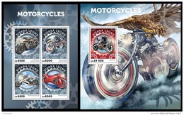 SIERRA LEONE 2016 - Motorcycles, M/S + S/S. Official Issue. - Motorbikes