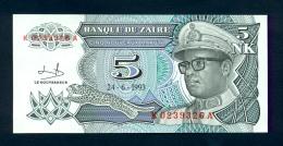 Banconota  ZAIRE 5 NOUVEAUX MAKUTA 1993 UNC-FDS - Zaire