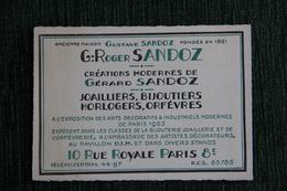 Carte De Visite , PARIS, ROGER SANDOZ, Joailliers, Bijoutiers. - Cartes De Visite