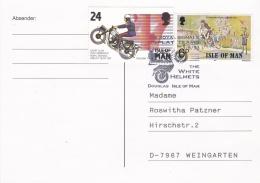 Isle Of Man Postcard Posted Douglas 1993 W/Police Motorcyclist (T5-19) - Police - Gendarmerie