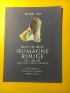 3103 -  Suisse Valais Humagne Rouge Rives Du Bisse 1992 Invitation Au Verso - Etiquettes