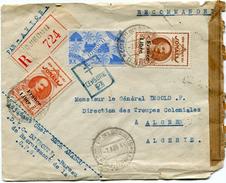 COTE FRANCAISE DES SOMALIS FRANCE LIBRE LETTRE RECOMMANDEE PAR AVION CENSUREE DEPART DJIBOUTI 7 AOU 44 POUR L'ALGERIE - Lettres & Documents