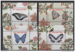 ST. MAARTEN, 2016, MNH, BUTTERFLIES, 4  S/SHEETS, Nos. 9-12,   HIGH FV - Schmetterlinge