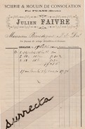 Facture 1900 Julien FAIVRE / Scierie & Moulin De Consolation / FUANS Doubs - Altri