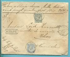 60+63 Op Brief ASSURE (verzekend) / (2324.72Fr / 2Porten) Met Stempel FELUY Naar NAMECHE - 1893-1800 Fijne Baard
