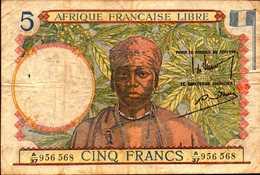 AFRIQUE FRANCAISE LIBRE 5 FRANCS De 1941nd Pick 6 - Other