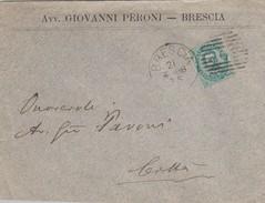 Italia Regno 1888 - Lettera Da Brescia X Città Del 21/4/1988 Affrancata Con  1 Stamp - 1878-00 Umberto I