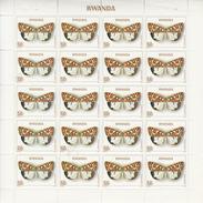 1979 Rwanda 150F Utetheisa Pulchella Complete Sheet Of 25 MNH  SUPER CHEAP Not In Every Collection - Mariposas