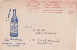 """VIN L' AIMANT MAGNET - Enveloppe Illustrée + EMA HAMBURG - DB D.A. KOCH """" Der Weinbrand """" - Deutschland Allemagne - Wein & Alkohol"""
