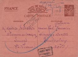 """Griffe """" Evacué """" Sur Entier CP Interzones IRIS De Limoges Haute Vienne  à Tourcoing Nord + Retour + Parti..Adresse + Ce - Poststempel (Briefe)"""