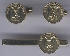Boutons De Manchettes + Pince à Cravate De La B.A.N De Nîmes Grarons - Marine