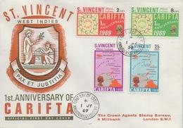 St. VINCENT :1969: Y.254-57 On FDC : CARIFTA,TRADING,COMMERCE,MAP,ISLANDS, - St.Vincent (...-1979)