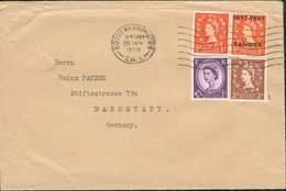 GREAT BRITAIN ROYAUME UNI LETTRE AFFRANCHISSEMENT MIXTE TANGIER + GB SOUTH KENSINGTON 1958 TB POUR ALLEMAGNE - 1952-.... (Elizabeth II)