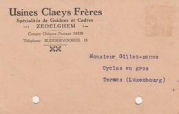 Zedelghem ,carte Publicité ,Usines CLAEYS Frères ,,spécialité De Guidon Et Cadre ,(vélo,moto) - Zedelgem