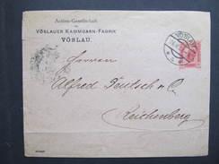 GANZSACHE Vöslau - Reichenberg Kammgarn Fabrik 1908 ///  D*22040 - Briefe U. Dokumente