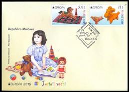 SALE!!! MOLDAVIA MOLDOVA MOLDAVIE MOLDAWIEN 2015 EUROPA CEPT OLD TOYS - FDC First Day Cover - Europa-CEPT
