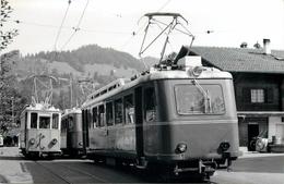 CHEMIN DE FER Bex-Villers -Bretaye (Suisse) - Barboleusaz, Motrices.(photo Format Carte Ancienne) - Treinen