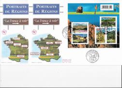 """Enveloppes  1er Jour FDC 2008 2 Grandes  Enveloppes """"Portraits De Régions"""" - FDC"""