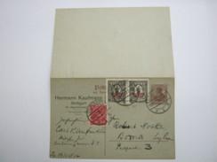 1922 , 2 1/2 Pfg., Doppelganzsache Mit Textzudruck , Verschickt Aus Stuttgart - Ganzsachen