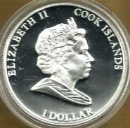 COOK ISLANDS $1 ELIZABETH TAYLOR COLOURED FRONT QEII HEAD BACK 2011 PROOF READ DESCRIPTION CAREFULLY!!! - Cook