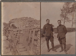 2 Photos Sur Carton Ruines Tranchées Guerre Militaire 14-18 Front De L'yser - Guerre, Militaire