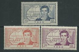 Togo N° 172 / 74  X  :  Centenaire De La Mort De René Caillié, Les 3 Valeurs  Trace De Charnière Sinon TB
