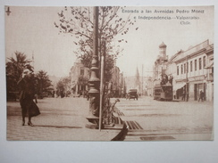 Postcard Entrada A Las Avenidas Pedro Montt E Independencia Animated Valparaiso Chile By Allan Phillip My Ref B1510 - Chile