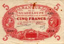 GUADELOUPE (Banque De La)  5 FRANCS  1944nd Pick 7d - Francia